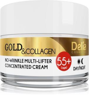 Delia Cosmetics Gold & Collagen 55+ crema antirughe con effetto lifting