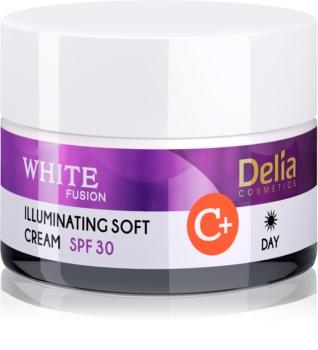 Delia Cosmetics White Fusion C+ rozjasňující denní krém pro pleť s hyperpigmentací SPF 30