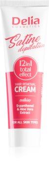Delia Cosmetics Satine Depilation 12in1 Total Effect αποτριχωτική κρέμα για όλους τους τύπους δέρματος