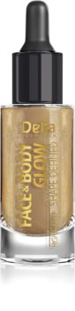 Delia Cosmetics Face & Body Glow Shape Defined tekutý rozjasňovač s kapátkem