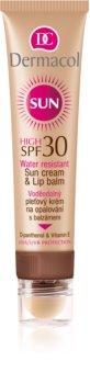Dermacol Sun Water Resistant wasserfeste Gesichtscreme zum Bräunen mit Lippenbalsam SPF 30
