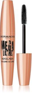 Dermacol Mega Lashes Volume & Care maskara ekstremalnie nadajaca objętość w intensywnie czarnym kolorze