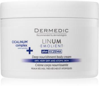 Dermedic Linum Emolient tápláló testápoló krém  száraz és atópiás bőrre