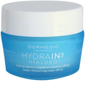 Dermedic Hydrain3 Hialuro creme de hidratação profunda SPF 15