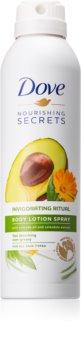 Dove Nourishing Secrets Invigorating Ritual ochranné tělové mléko ve spreji