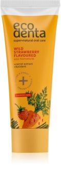 Ecodenta Green Wild Strawberry Flavoured creme dental para crianças com aroma de morangos silvestres e extrato de cenoura