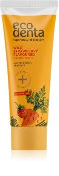Ecodenta Green Wild Strawberry Flavoured zobna pasta za otroke z vonjem gozdnih jagod in izvlečkom korenja