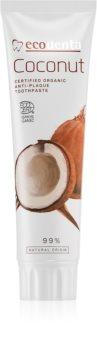 Ecodenta Cosmos Organic Coconut zubná pasta bez fluoridu na posilnenie zubnej skloviny