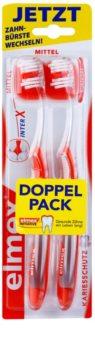 Elmex Caries Protection escova de dentes média com cabeça curta 2 pçs