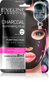 Eveline Cosmetics Charcoal Illuminating Ritual maschera detergente in tessuto ultra idratante