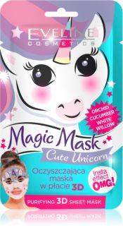 Eveline Cosmetics Magic Mask Cute Unicorn maschera in panno 3D per pulizia profonda