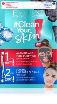 Eveline Cosmetics #Clean Your Skin hloubkově čisticí pleťová maska 2 v 1