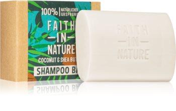 Faith In Nature Coconut & Shea Butter organikus szilárd sampon hidratálást és fényt biztosít