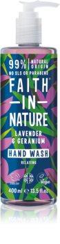 Faith In Nature Lavender & Geranium натурален течен сапун за ръце с екстракт от лавандула