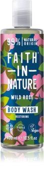 Faith In Nature Wild Rose gel douche naturel pour restaurer la barrière cutanée