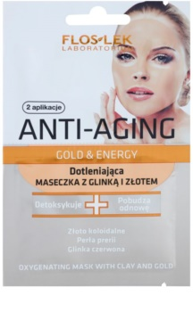 FlosLek Laboratorium Anti-Aging Gold & Energy oksigenacijska maska sa zlatom i glinom