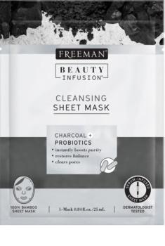 Freeman Beauty Infusion Charcoal + Probiotics čisticí látková maska s aktivním uhlím pro všechny typy pleti