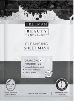 Freeman Beauty Infusion Charcoal + Probiotics masque en tissu au charbon actif pour tous types de peau