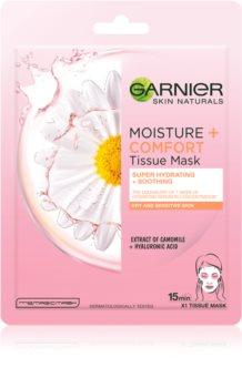 Garnier Skin Naturals Moisture+Comfort máscara têxtil perfeita para hidratação e relaxamento para pele seca a sensível