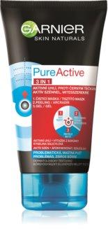 Garnier Pure Active mască facială neagră, contra punctelor negre și a acneei, cu cărbune activ 3 în 1