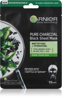 Garnier Skin Naturals Pure Charcoal Black Sheet Mask with Black Tea Extract