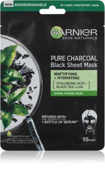 Garnier Skin Naturals Pure Charcoal schwarze Textilmaske mit Schwarztee-Extrakt
