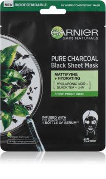 Garnier Skin Naturals Pure Charcoal черна платнена маска с екстракт от черен чай