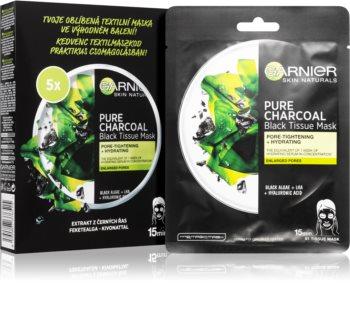 Garnier Skin Naturals Pure Charcoal Set di maschere di tessuto 5 ks