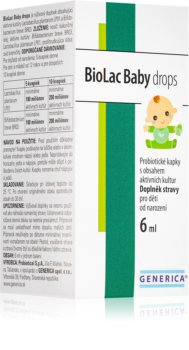 Generica BioLac Baby drops probiotické kapky pro děti s obsahem aktivních kultur přítomných v mateřském mléku