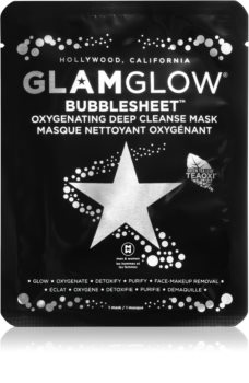 Glam Glow Bubblesheet maschera detergente in tessuto con carbone attivo illuminante