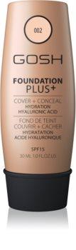 Gosh Foundation Plus+ Természetes fedésű hidratáló make-up SPF 15