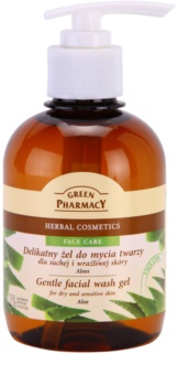 Green Pharmacy Face Care Aloe gel de limpeza suave para pele seca e sensível
