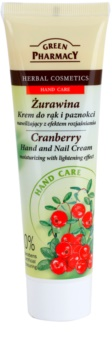 Green Pharmacy Hand Care Cranberry creme hidratante para mãos e unhas com efeito brilhante