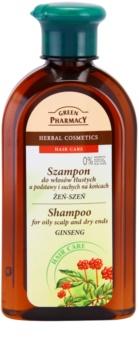 Green Pharmacy Hair Care Ginseng champú para cuero cabelludo graso y puntas secas