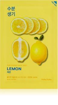 Holika Holika Pure Essence Lemon masque tissu adoucissant et rafraîchissant à la vitamine C