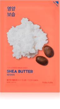 Holika Holika Pure Essence Shea Butter plátenná maska s vysoko hydratačným a vyživujúcim účinkom
