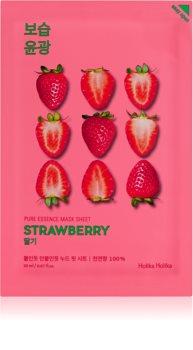 Holika Holika Pure Essence Strawberry maska rozświetlająca w płacie ujednolica koloryt skóry
