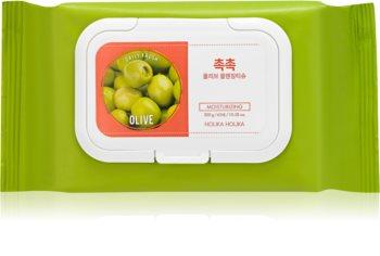 Holika Holika Daily Fresh Olive μαντηλάκια για ντεμακιγάζ για αφαίρεση ανθεκτικού και αδιάβροχου μεικ απ