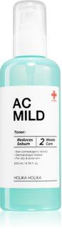 Holika Holika AC Mild Sebum Reduce kojący tonik do leczenia skóry tłustej z trądzikiem