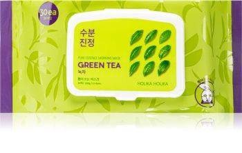 Holika Holika Pure Essence Green Tea maschera rinfrescante per il mattino con estratto di the verde