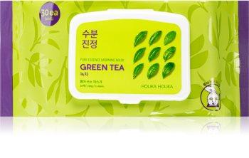 Holika Holika Pure Essence Green Tea освежаваща сутрешна маска с екстракт от зелен чай