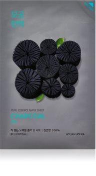 Holika Holika Pure Essence Charcoal masque nettoyant en tissu avec du charbon actif