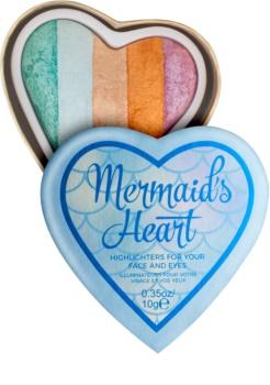I Heart Revolution Mermaids Heart iluminador para ojos y pómulos