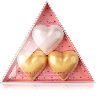 I Heart Revolution Fizzer Kit Mettalic Heart Χρωματισμένες αφρίζουσες ταμπλέτες μπάνιου