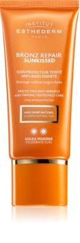 Institut Esthederm Bronz Repair Sunkissed Protective Anti-Wrinkle And Firming Tinted Face Care krem tonujący do opalania przeciw zmarszczkom