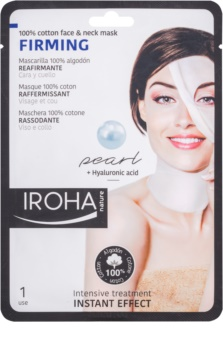 Iroha Firming Pearl bawełniana maska na twarz i szyję z perłowym i hialuronowym surum
