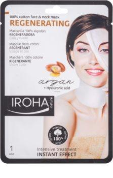 Iroha Regenerating Argan bawełniana maska na twarz i szyję z olejem arganowym i kwasem hialuronowym