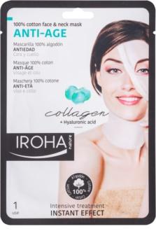 Iroha Anti - Age Collagen Baumwollmaske für Gesicht und Hals mit Kollagen- und Hyaluronserum