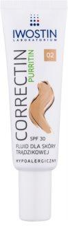 Iwostin Purritin Correctin lozione coprente lunga durata per pelli acneiche SPF 30