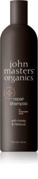 John Masters Organics Honey & Hibiscus megújító sampon a károsult hajra
